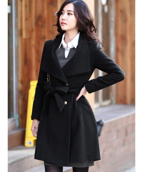 Women Wool Blend Winter Fashion Slim Fitting Single-Breasted One Size Jacket/Coat