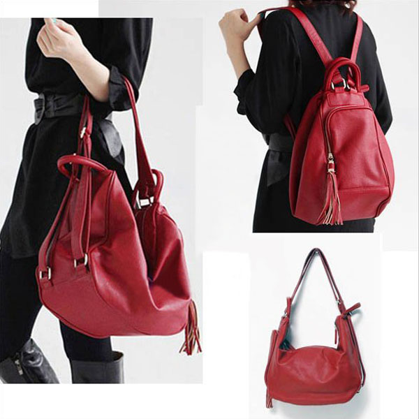 Pu Leather Backpack Handbag Shoulder Bag Red Black
